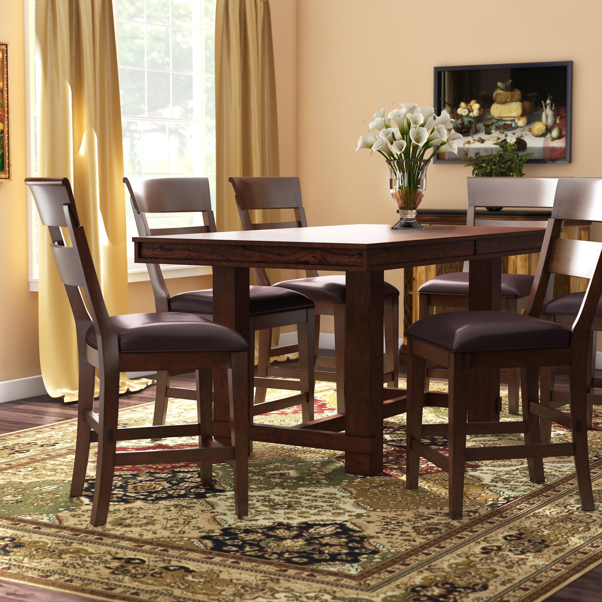 7 piece counter height dining set espresso three posts norden piece counter height dining set wayfair