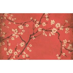 Golden Cherry Blossom Red Area Rug