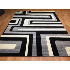 Hand-Carved Black/Gray Area Rug