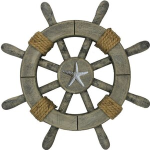 Ship Wheel with Starfish Wall Du00e9cor