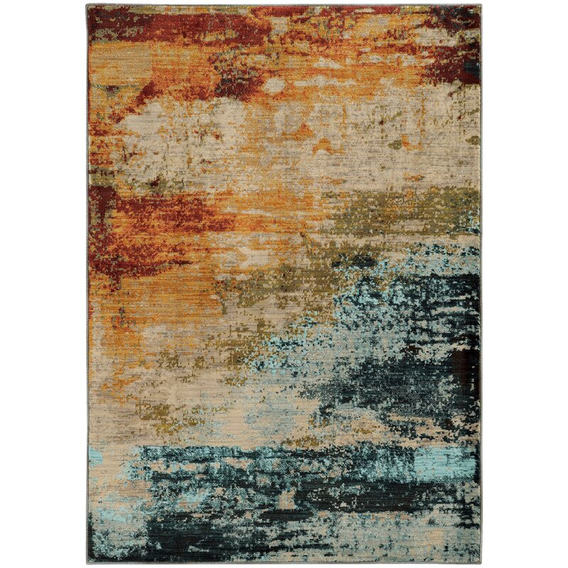 Beautiful Haugan Abstract Blue/Red Area Rug