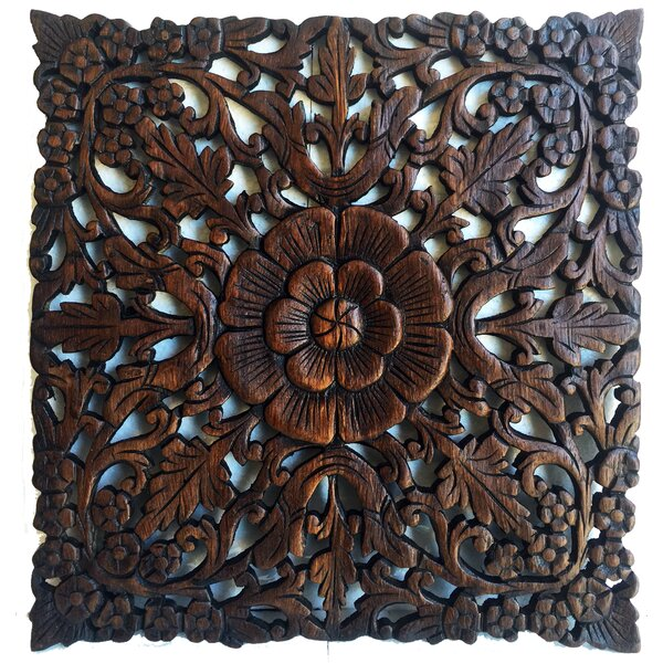 Asian art imports square carved teak wall décor reviews