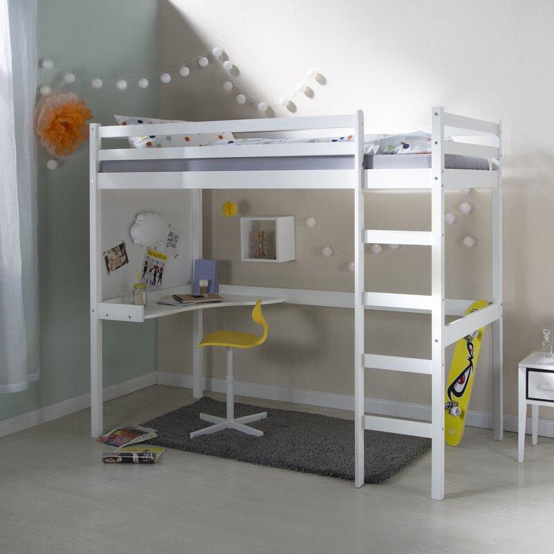 Hochbett mit Schreibtisch, 90 x 200 cm Evelyn