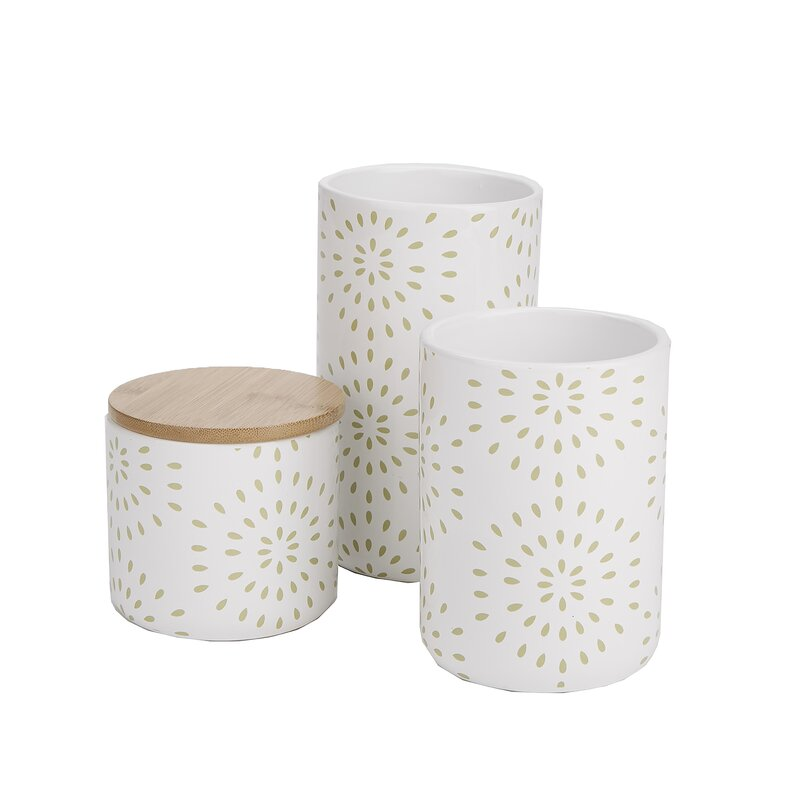 Mind Reader Small Medium Large Ceramic Canister Set With Lids 3 Pc Round