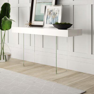 Mercury Row Mcduffy Console Table with Tempered Glass Table Top Color: White