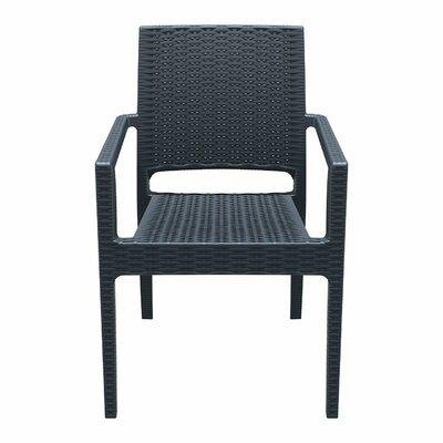 Brayden Studio Kesler Stacking Patio Dining Chair (Set of 2) Color: Dark Gray