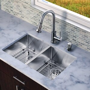 VIGO 29 inch Undermount 50/50 Double Bowl 16 Gauge Stainless Steel Kitchen Sink with Astor Stainless Steel Faucet, Two Gri...