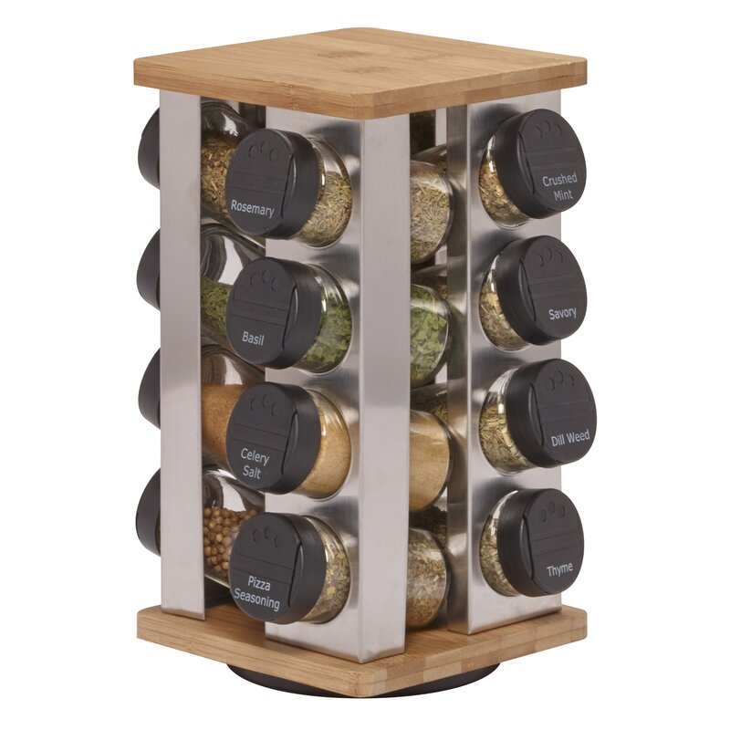 Captivating Revolving 16 Jar Spice Jar U0026 Rack Set