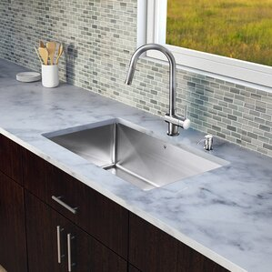 VIGO 30 inch Undermount Single Bowl 16 Gauge Stainless Steel Kitchen Sink with Gramercy Stainless Steel Faucet, Grid, Stra...