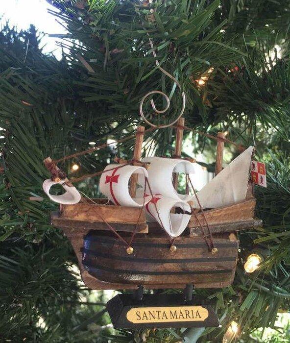 santa maria wooden tall model ship christmas ornament