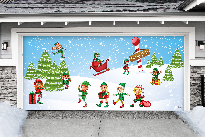 The Holiday Aisle North Pole Elves Christmas Garage Door Mural | Wayfair