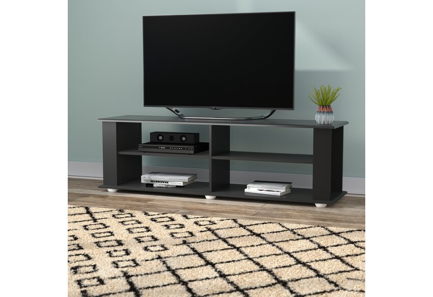 Dark Wood Tv Credenza : Black wood tv stand with storage for tvs up to stylish