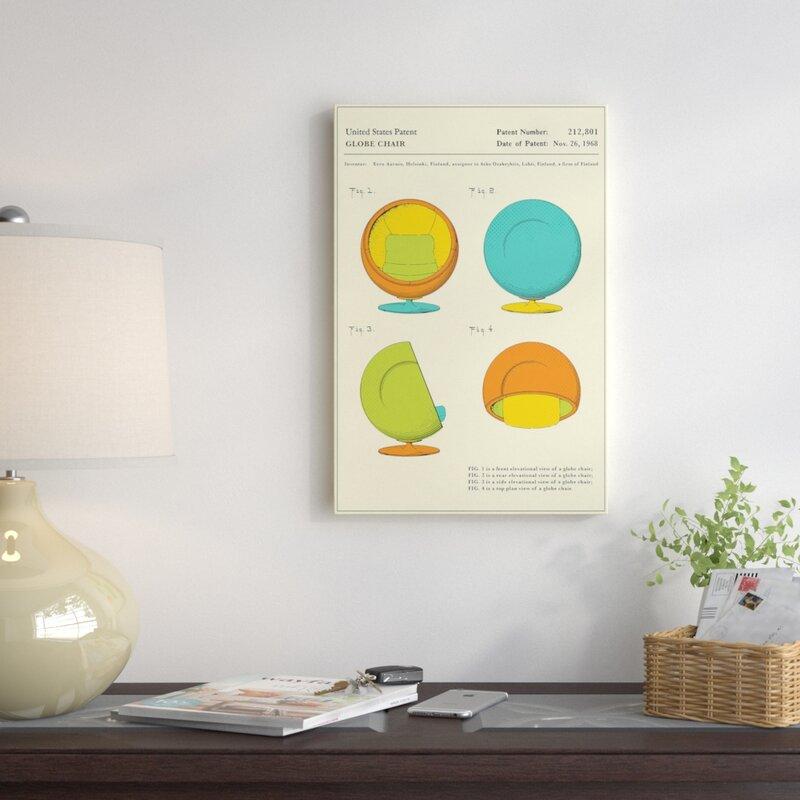 U0027Eero Aarnio (ASKO) Globe Chair Patentu0027 Graphic Art Print On Canvas. U0027