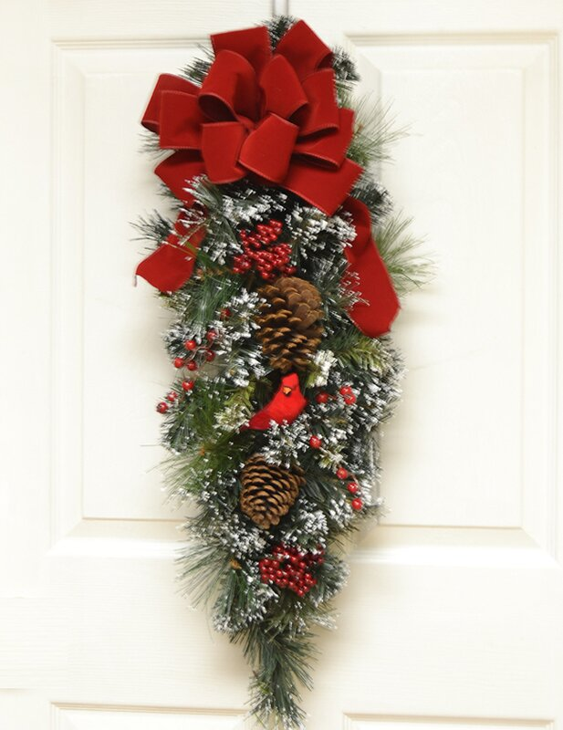 Holiday Cardinal Door Swag with Flocked Snow & Floral Home Decor Holiday Cardinal Door Swag with Flocked Snow ... pezcame.com