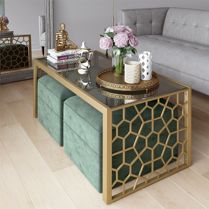 CosmoLiving by Cosmopolitan Juliette Glass Top Coffee Table ...