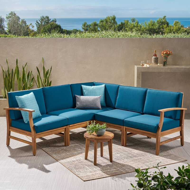 Birch Lane & Antonia Teak Patio Sectional with Cushions