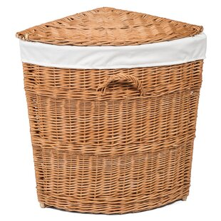 Wicker Lined Corner Laundry Basket