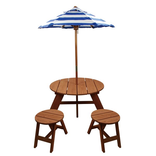 Homeware Kids 4 Piece Wood Round Table And Chair Set With Umbrella U0026  Reviews | Wayfair