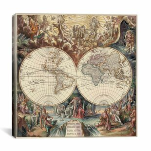Antique world map wall art wayfair antique world map i by interlitho designs graphic art on canvas publicscrutiny Choice Image