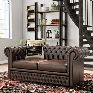 Gaillarde Genuine Leather Chesterfield Loveseat