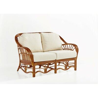 Bay Isle Home Strachan Loveseat Upholstery: Bamboozel Plantain, Finish: Walnut