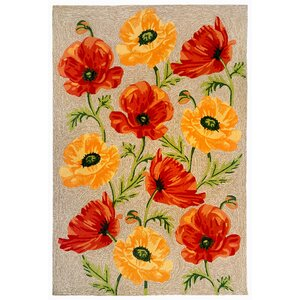 Haverstraw Hand-Tufted Yellow/Red Indoor/Outdoor Area Rug