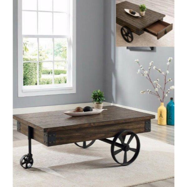 Gracie Oaks Castlebourne Wagon Wheel Coffee Table With Storage U0026 Reviews |  Wayfair
