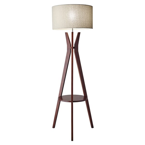 in with tripod leg from modern floor lighting shade study living sitting lamp wood minimalist light fixture room fabric item lamps for