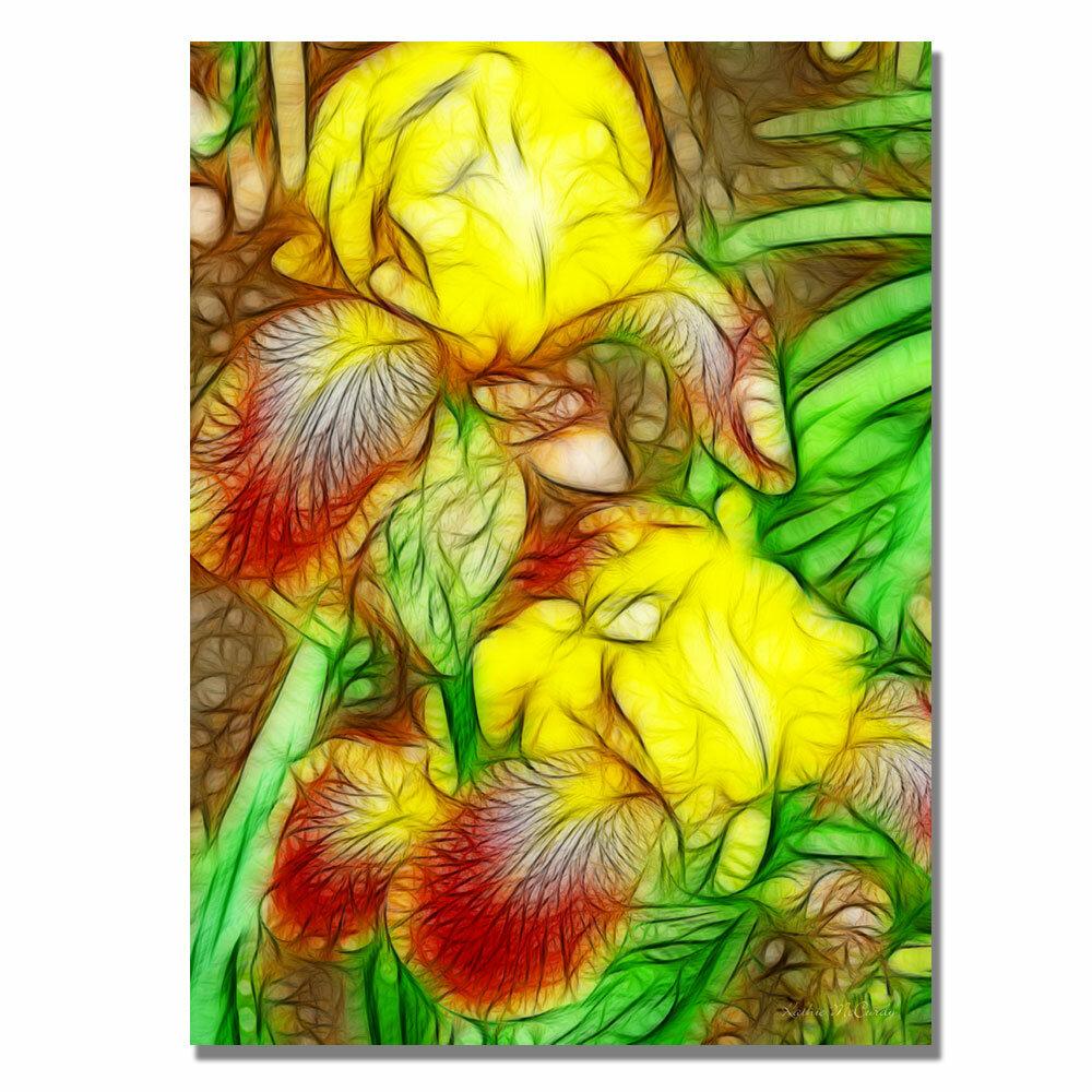 Trademark Art \'Iris Yellow Batik\' by Kathie McCurdy Framed Painting ...
