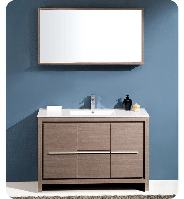Fresca Allier Modern Single Bathroom Vanity Set With Mirror - Bathroom vanities coral springs fl