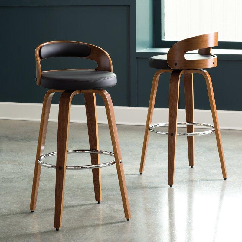 Pleasing Labelle Mid Century Modern Low Back Bentwood Frame 30 Swivel Bar Stool Dailytribune Chair Design For Home Dailytribuneorg
