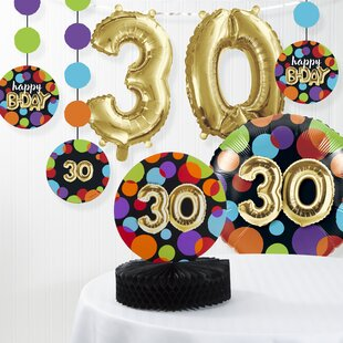 Balloon 30th Birthday Decorations Kit Set Of 7