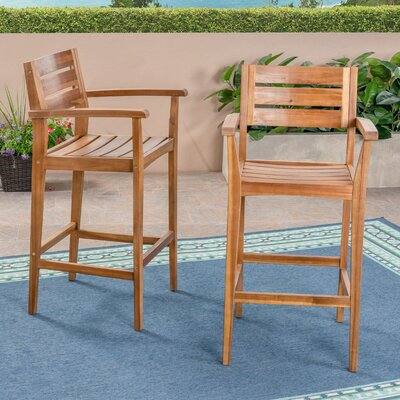 "Vanetten 45.5"" Teak Patio Bar Stool Union Rustic Frame Finish: Teak"