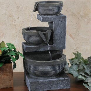 Resin 3 Tier Cascading Basins Tabletop Water Fountain With Light
