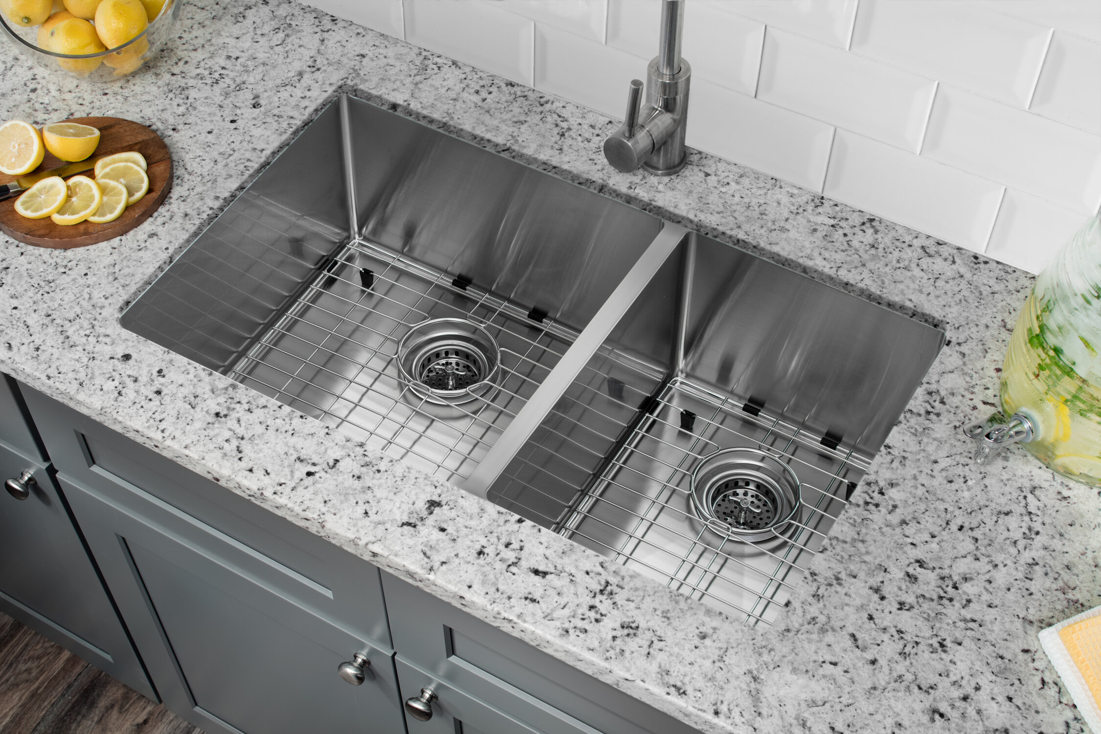 Radius 16 Gauge Stainless Steel 32\'\' x 19\'\' 60/40 Double Bowl Undermount  Kitchen Sink