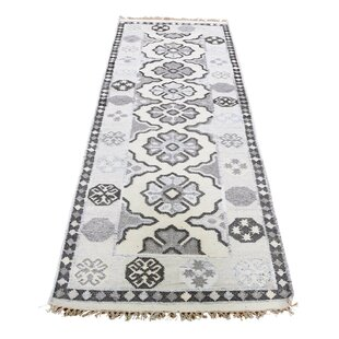 Best Price One-of-a-Kind Pitts Anatolian Hand-Knotted 2'6 x 7'8 Wool/Cotton Gray/White Area Rug By Isabelline