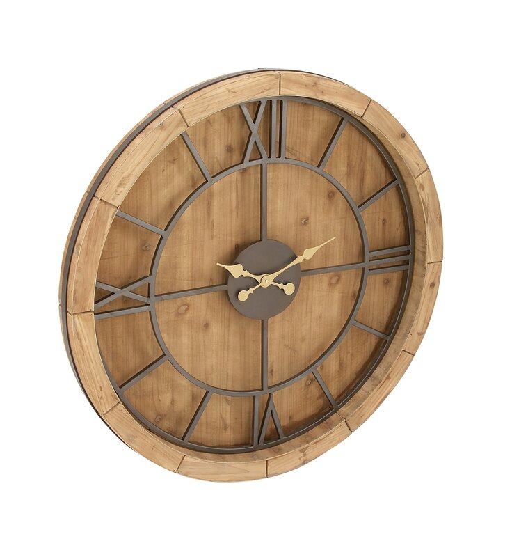 "Cole & Grey Oversized Wood and Metal 40"" Wall Clock ..."