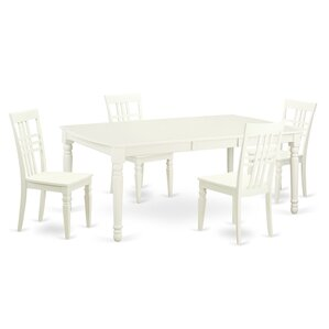 5 Piece Dining Set in Linen White by East West Furniture