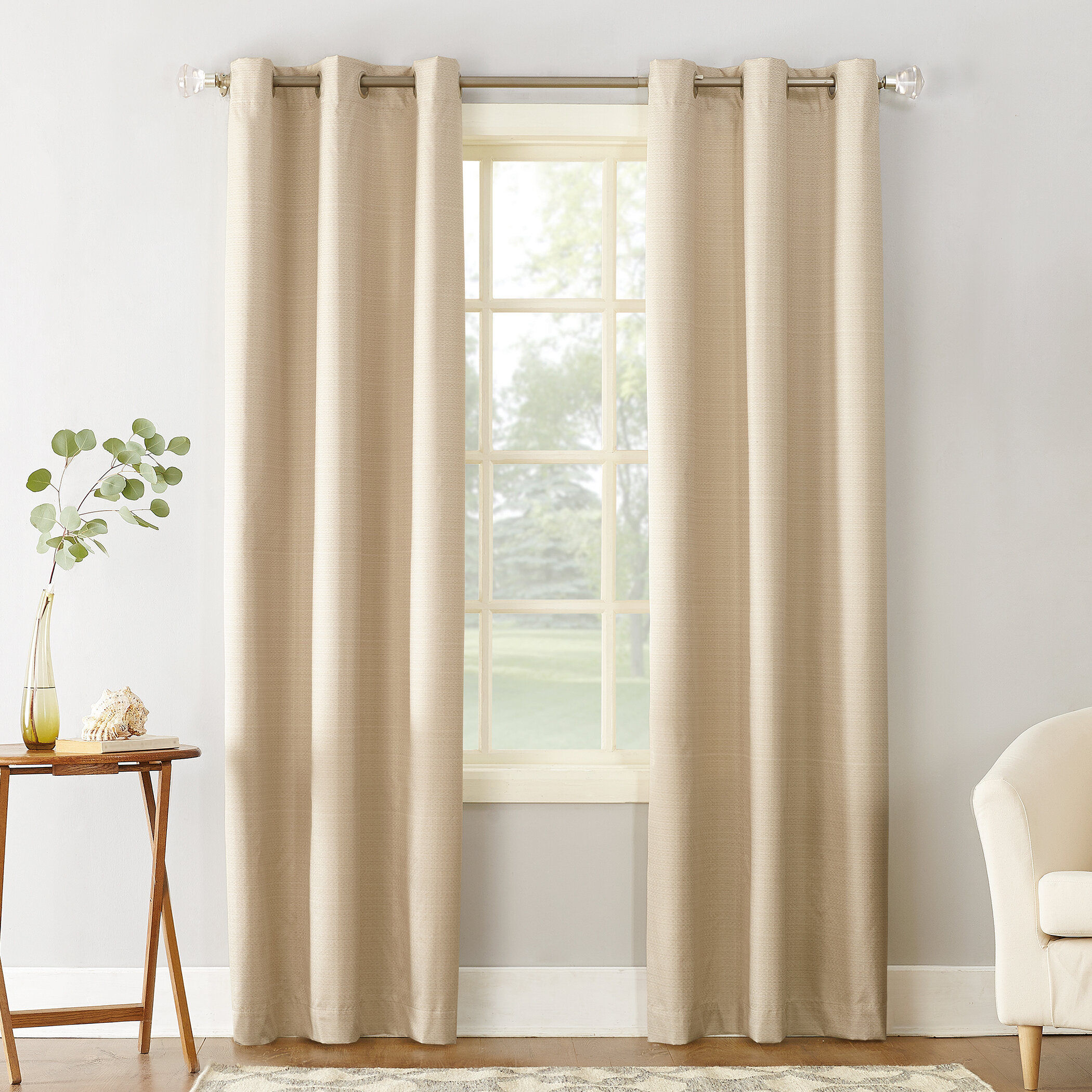 panels blackout curtain rod room bamboo insulated texture living product pocket embossed for leaf curtains pattern thermal