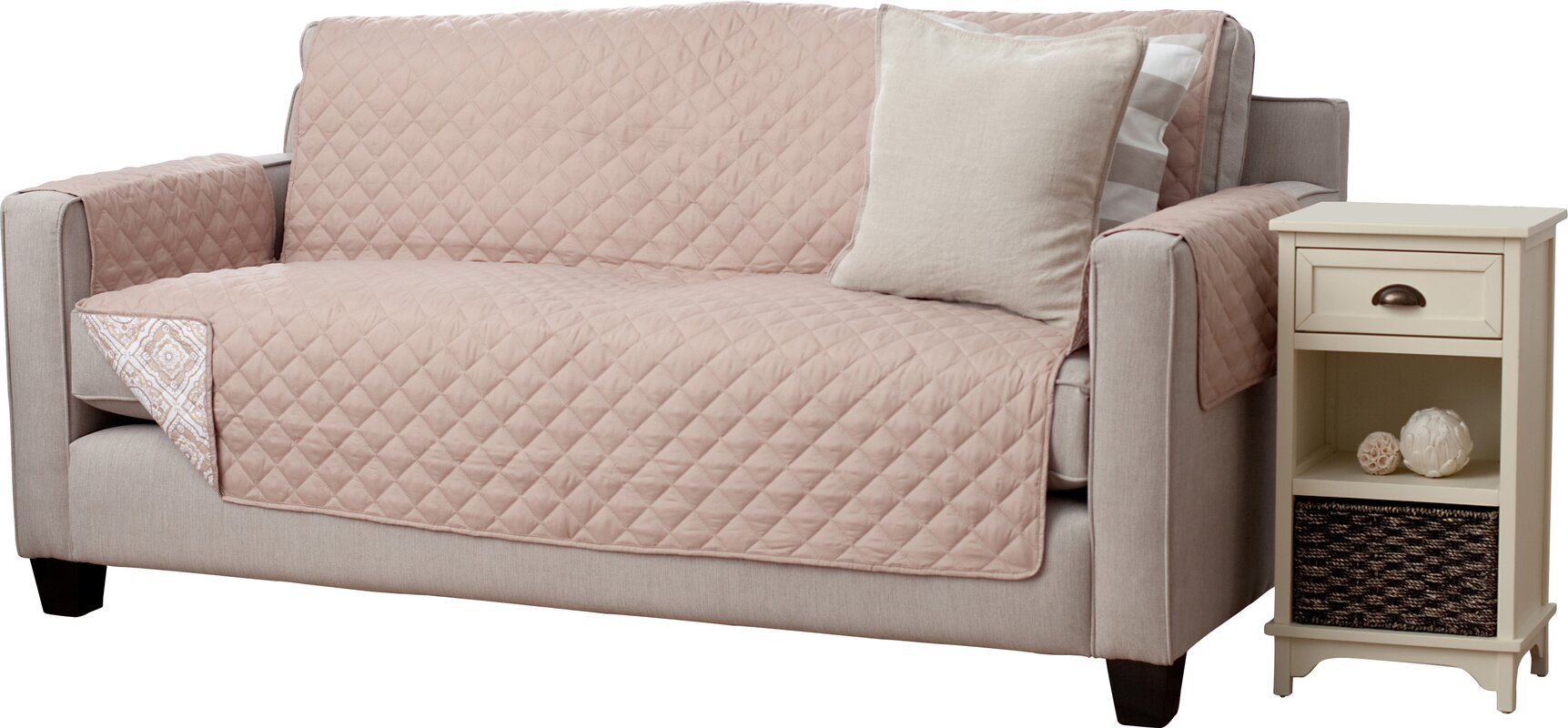 Adalyn Diamond Geo Box Cushion Sofa Slipcover