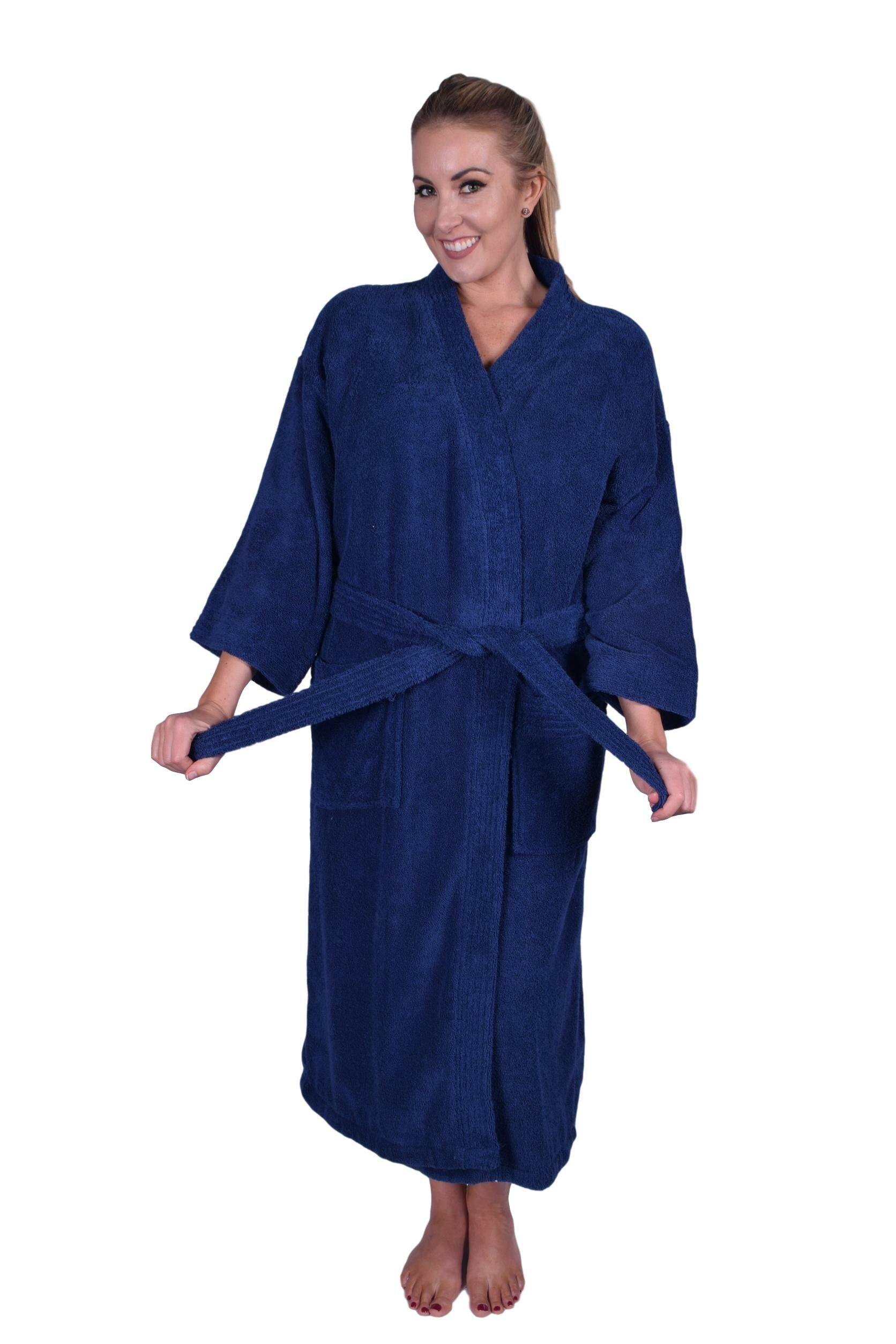 PUFFY COTTON Solid Natural Soft Kimono 100% Cotton Bathrobe  b7ad2a4b8