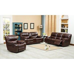 Roundhill Furniture Ewa 3 Piece Leather Living Room Set