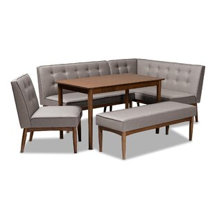 Bopp Mid-Century Modern Upholstered 5 Piece Breakfast Nook Dining Set