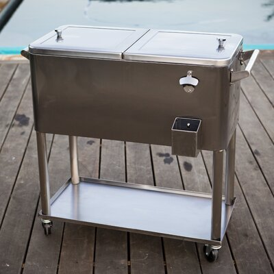80 Qt Stainless Steel Patio Rolling Cooler