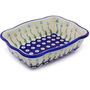 Floral Peacock Rectangular Non-Stick Polish Pottery Baker