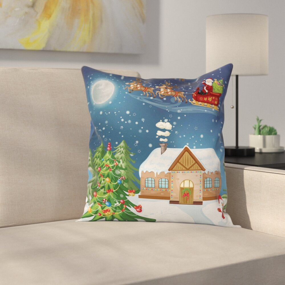 East Urban Home Christmas Santa with Rudolf Square Pillow Cover ...