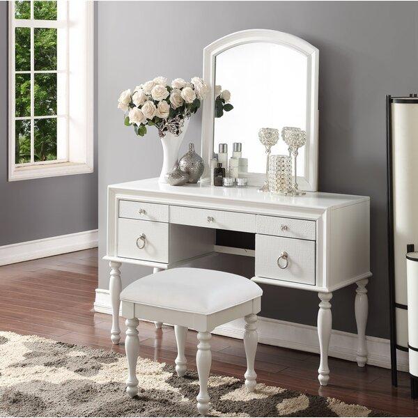 Vanity And Mirror Set Part - 35: Rosdorf Park Florine Vanity Set With Mirror U0026 Reviews | Wayfair