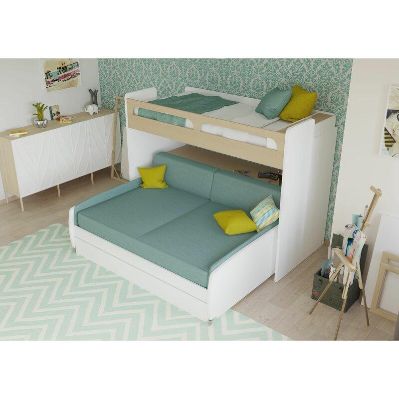 Twin Bed Sofa Bed: Brayden Studio Gautreau Twin Bunk Bed Over Full XL Sofa