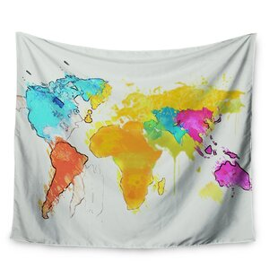 World map tapestries youll love wayfair world map by oriana cordero wall tapestry gumiabroncs Images