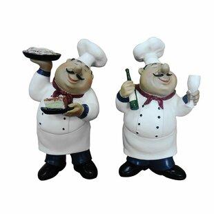 Ginder Fat Chef Holding Food and Wine 2 Piece Figurine Set  sc 1 st  Wayfair & Fat Chef Kitchen Curtains | Wayfair